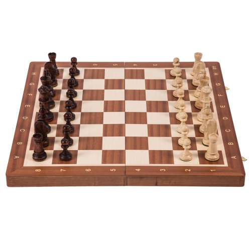 Wooden Chess Tournament No. 6 - MAHOGANY - Chessboard & Chess Pieces Staunton 6