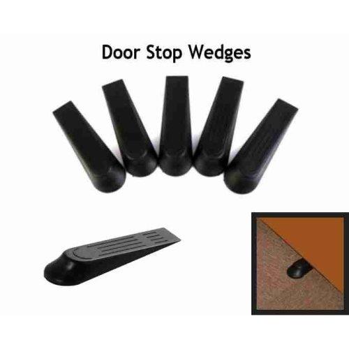 Door Stop Wedges Hold Doors Open Black Stoppers Home Work Garden x5