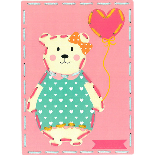 """Vervaco/Kits 4 Kids Embroidery Cards Kit 7.25""""X10.25""""-Bear Crown & Balloon (Set Of 2)"""