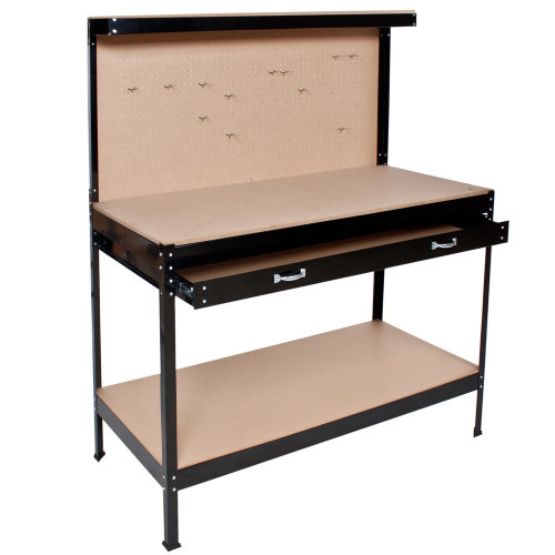 Workbench with pegboard and drawer 120 x 60 x 156 cm