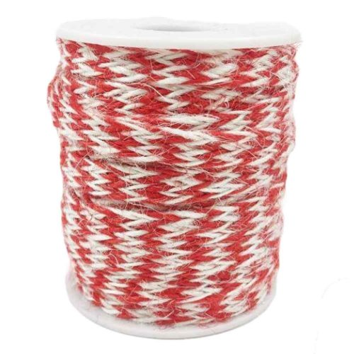 Red/White 2 Piece x 32 Feet - 8mm Gift Packing Strings Jute Twine DIY Home Decor