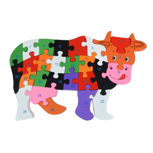 Wooden Block Animal Letter Figure Baby Early Childhood Puzzle Toy ( Cow )
