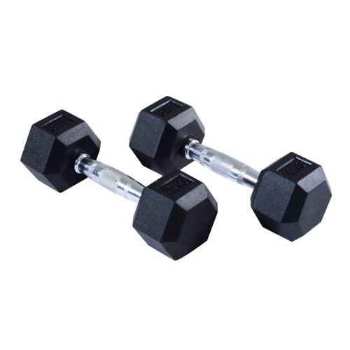 Homcom Rubber Dumbbells | Hexagonal Weights
