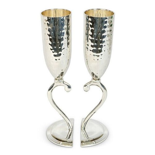 Culinary Concepts Heart Lovers Cups Pair Wine Champagne Flute Silver Plated