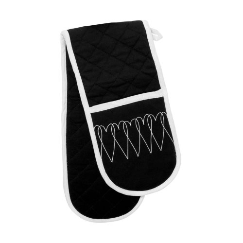 Heart Lines Double Oven Glove - Black/White