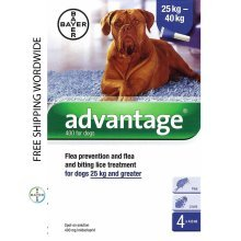 Pack 4 Advantage 400 Extra Large Dog 25Kg - 40Kg (55lb - 88lb) - Bayer
