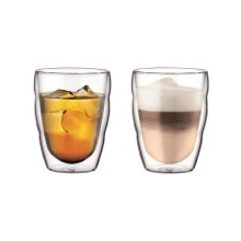 Bodum 10484-10 PILATUS  Glass Set (Double-Walled, Isolated, Dishwasher Safe, 0.25 L/8 oz) - Pack of 2, Transparent