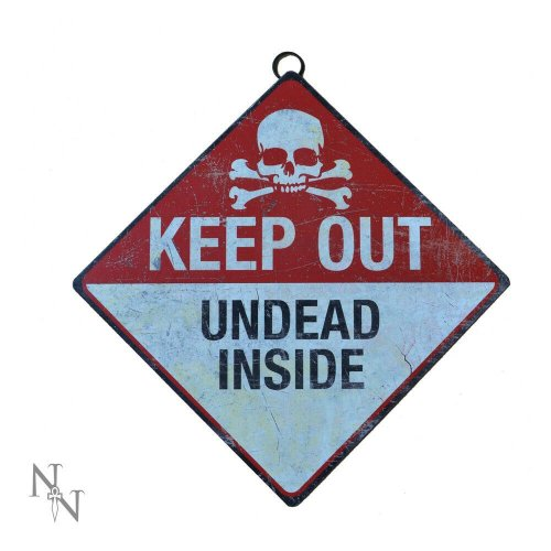 Nemesis Now Keep Out - Unded Inside Warning Metal Sign Halloween Horror 30cm