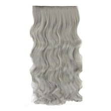 """One-piece Curly Wave Hair Clip-on Hairpieces 5 Clips 20"""" - Light Granny Grey"""