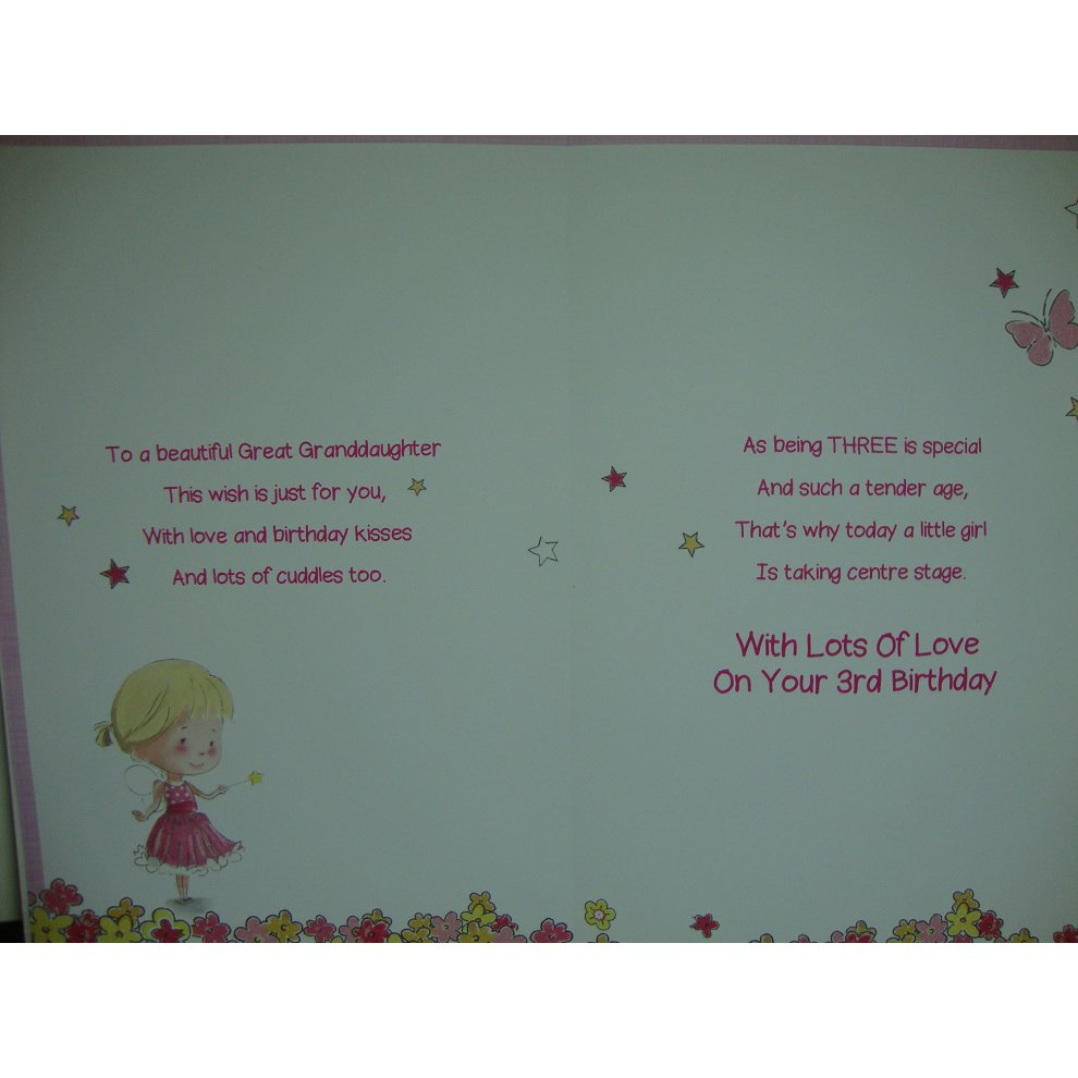Great Granddaughter 3rd 3 Today Happy Birthday Card With A Lovely Verse