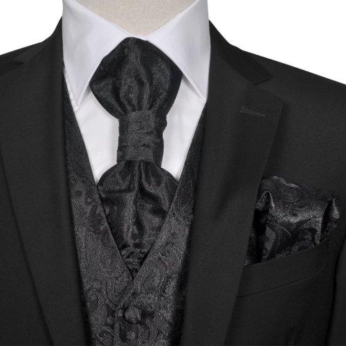Men's Black Paisley Wedding Party Prom Cruise Waistcoat &Tie Set Suit Size 48