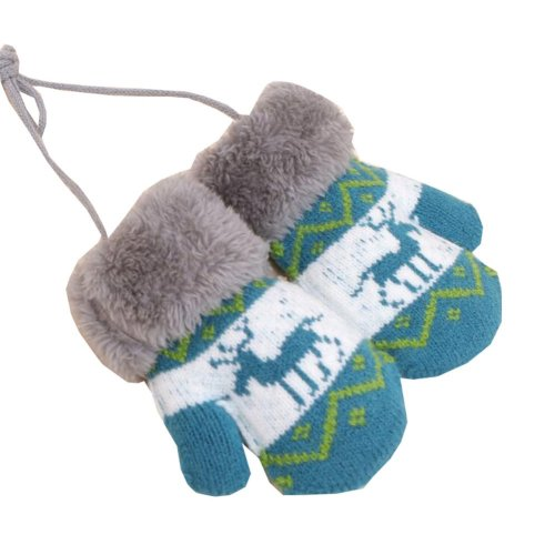 Kids Winter Plush-lined Mittens with String Christmas Deer Thicken Gloves, #05