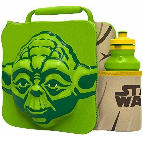 St363 - 3d Lunch Bag With Bottle - Yoda - Star Wars Set Thermal Box School -  3d lunch bottle star yoda bag wars set thermal box school drink gift