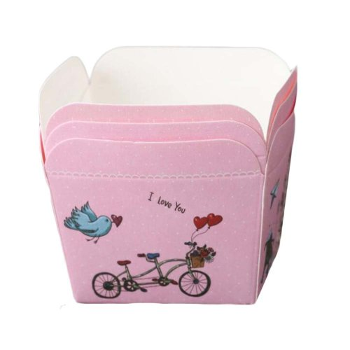 50 Pcs Paper Baking Cup Heat-Resistant Square Cupcake&Muffin Cup -Tandem Bicycle