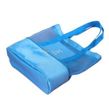 Double Layer Beach Bag Mesh Shopper Bag for Swimming and Yoga-Blue