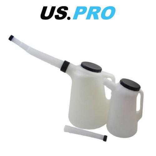 US PRO 2 Piece Fuel Oil Measuring Jug Set With Lids And Spout 2L & 5L