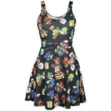 NINTENDO Super Mario Bros Female Characters and Icons Sleeveless Dress L - Black