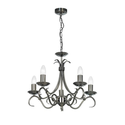 Traditional Antique Silver 5 Arm Ceiling Light