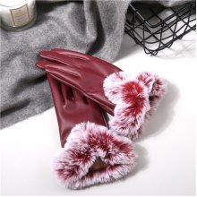 Warm Thick Rabbit Fur PU Leather Texting Screen Gloves