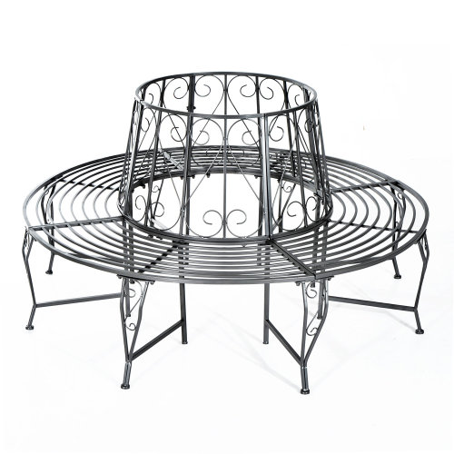 Outsunny Outdoor Garden Metal Round Tree Bench Dia160 x 90H (cm) Metallic Grey