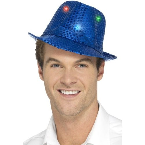 16b6c4445 Blue Men's Light Up Sequin Trilby Hat - adults light up sequin trilby hat  mens ladies gangster dance fedora fancy dress