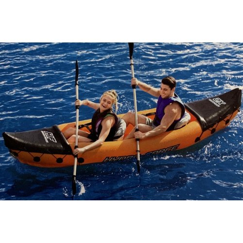 Bestway Inflatable Lite-Rapid X2 Two Person Water Sport Kayak with Oars