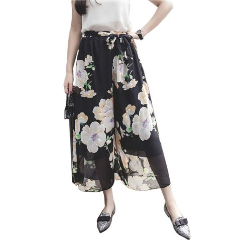 Stylish Printing Design Loose Fitting Pants Wide Leg Trousers Slacks for Women, #08