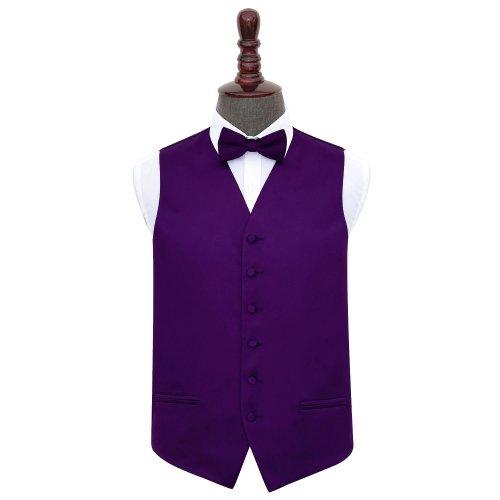 Purple Plain Satin Wedding Waistcoat & Bow Tie Set 50'