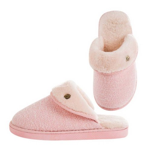 Fashion Cotton Slippers Winter Warm Indoor Slippers Couple Slippers,Women,PINK