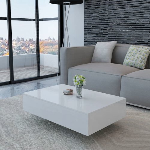 vidaXL Coffee Table High Gloss White 85x55x31cm Modern Living Room Furniture