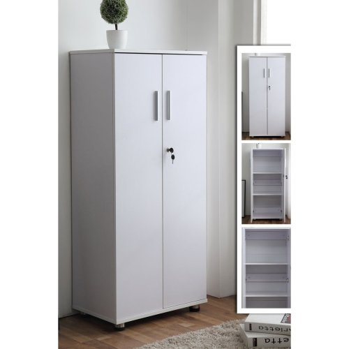 3 Shelf cabinet Cupboard Storage Lockable Furniture Unit Home Office