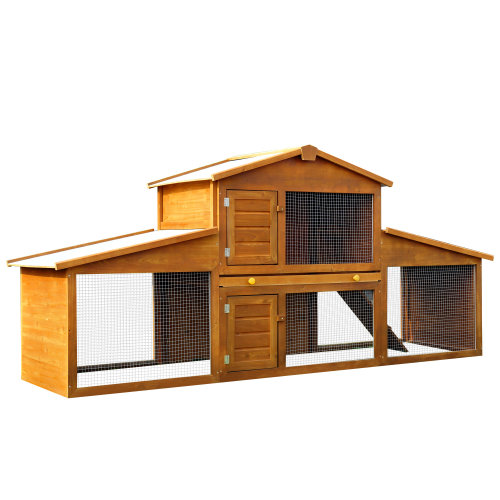 PawHut Rabbit Guinea Hutch Small Animal House Cage Pen Built In Run Brand New