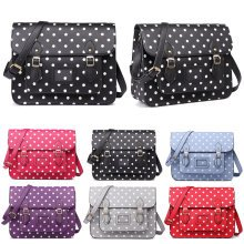 Miss Lulu School Bag Cross Body Messenger Shoulder Satchel Polka Dots