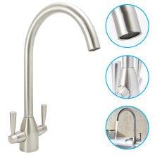 Brsuhed Steel/Nickel Kitchen Tap Swivel Sink Tap