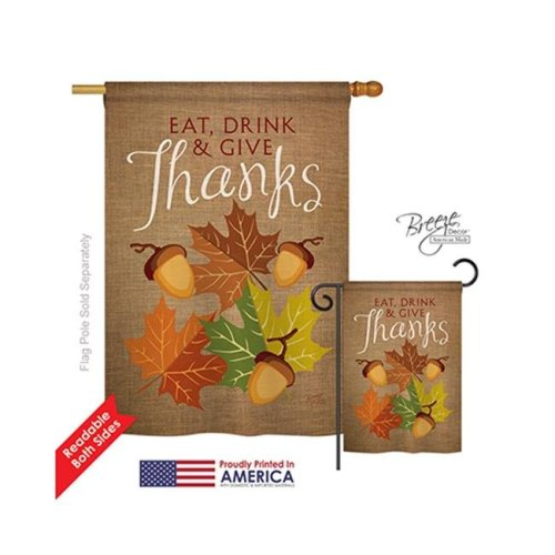Breeze Decor 13052 Thanksgiving Eat, Drink & Give 2-Sided Vertical Impression House Flag - 28 x 40 in.