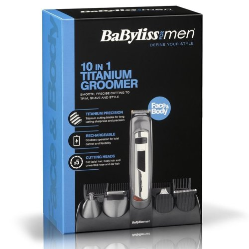 BaByliss 10-in-1 Men's Hair Removal Cutting Timmer Face & Body Multi-Groomer Kit