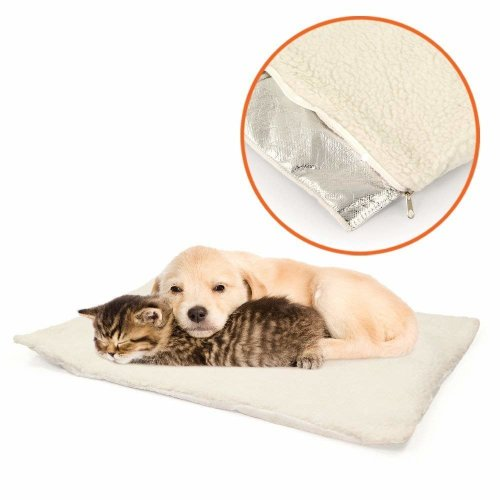 GLOW Set of 2 Self Heating Pet Bed – Super Soft and Comfortable Insulated Non Slip Sheepskin Self Warming Cushion Mat Pad for Cats Kitten Kitty Dog Puppy Small Pets with Reflective Thermal Warming Body Heat Reflecting Core Pad and Zipped Machine Wash