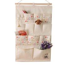 12-Pockets Zakka Wall Door Hanging Storage Bag Case Magazine Organizer, C