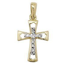 Mens 9ct Gold Fancy Cross Pendant On A Curb Necklace