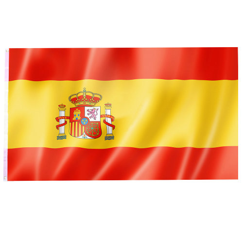 Large Spain National Flag with Rings 90cmx150cm Hanging Banner