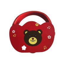 Cute Red Bear Mini Tambourine Wood Hand Drum for Kids ,Random Color