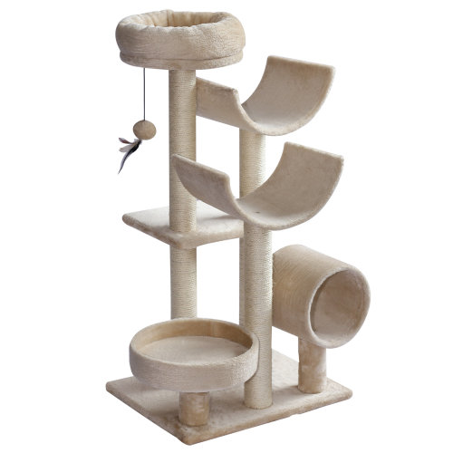 PawHut Cat Tree Kitten Pet Scratching Post Perch Activity Center Scratcher Climb Post Play House Arch with Tunnel Hanging Ball 105cm Tall Beige