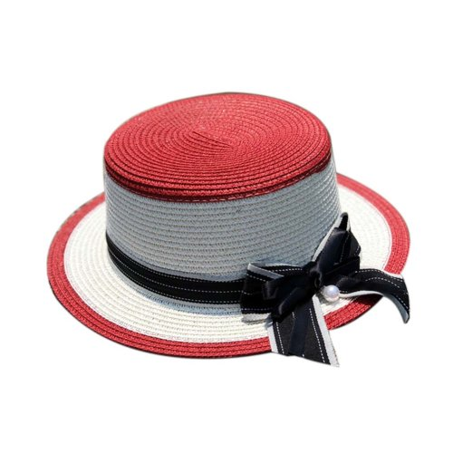 Womens Sun Straw Hat with Bow Belt Girls Sun Protection Short Brim Hats, Red