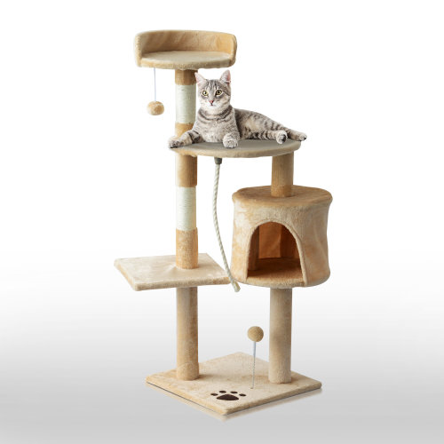 PawHut Cat Tree Pet Activity Centre Kitty Condo Climbing Scratching Post with Toys 4-tier 114cm Tall Beige