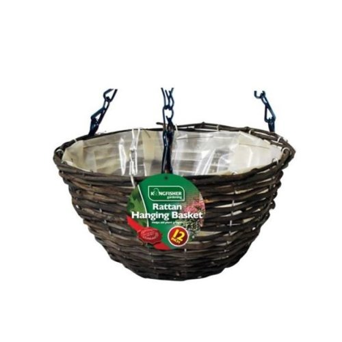 "1 X Kingfisher 12In (30Cm) Dark Rattan Hanging Basket Black 16"" Chain"