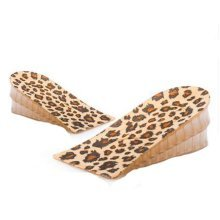 Set of 2 2-Layer 3.5cm Height Increase Insole Shoes Pad Silicone Pad, Leopard