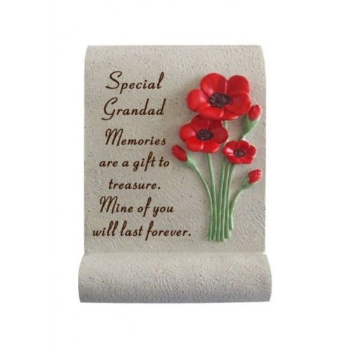 Grandad Poppy Memorial Scroll Plaque Ornament