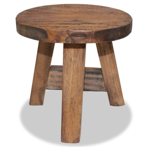 Small Vintage Stool Rustic Footstool Solid Wood Round Seat