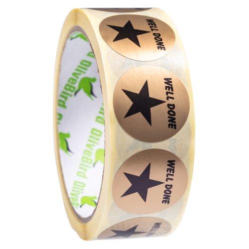 500 Reward Stickers Gold Stars Well Done Round Labels Size 30mm