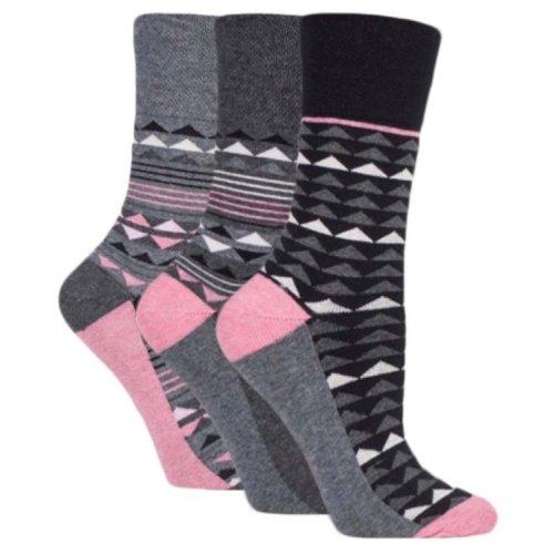 e9ec2e7d5ba8f 3 Pairs Ladies Black Charcoal Grey Geometric Cotton Gentle Grip Socks, Size  4-8 on OnBuy